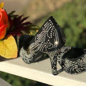 Shiekh Shoes - Sheikh Suede Black Silver Studs & Rhinestone Heels